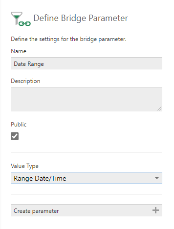 Define Bridge Parameter dialog