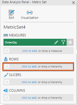 Click to add a row hierarchy