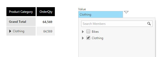 Using the Member filter in View mode