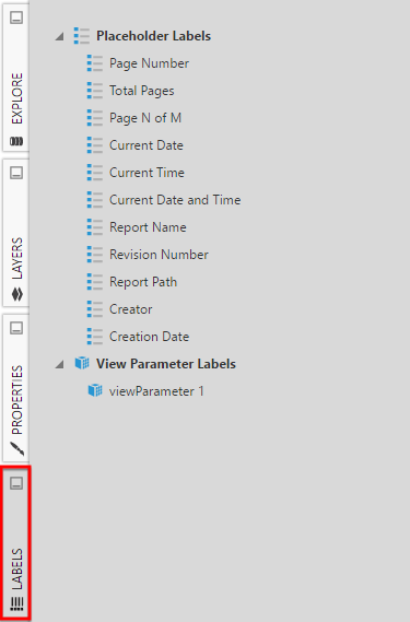 Add metadata labels via the Labels panel in a report