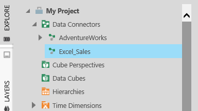 Symptom: Unable to discover table structure. As seen from the screenshot, the expand icon is not available for the Excel Data Connector.
