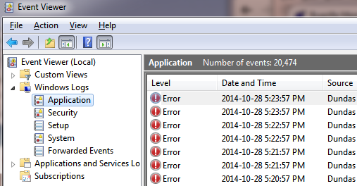 Check Windows event log for errors